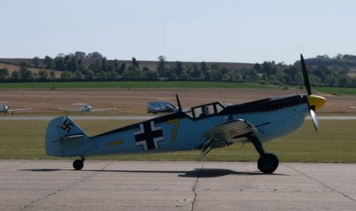 Messerschmitt 109 on the runway at Duxford 2019.
