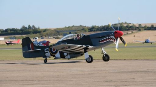 Mustang on the runway at Duxford Airshow 2019.