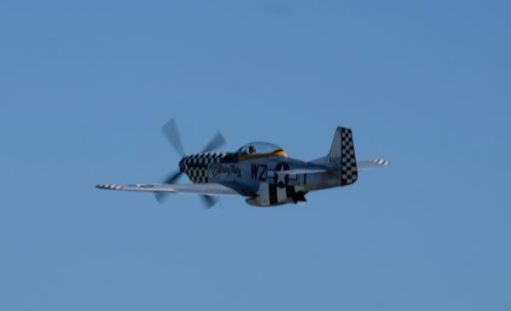 Mustang in the air at the Duxford Airshow 2019.