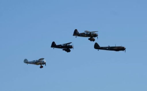 Gloster Gladiator, two Westland Lysanders and a Bristol Blenheim flying at the Duxford Airshow 2019.
