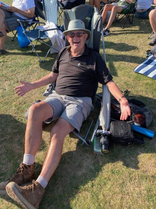 Bobby in his broken chair at the Duxford Airshow 2019.