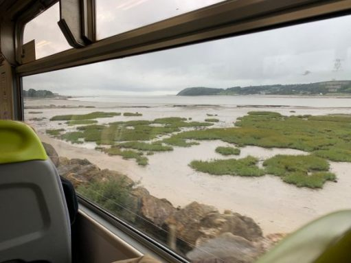 The River Towy (Tywi) flowing from Carmarthen. Great train journey.