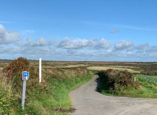Route 4 of the NCN. Administered by Sustrans. Whitchurch on the horizon, far right.
