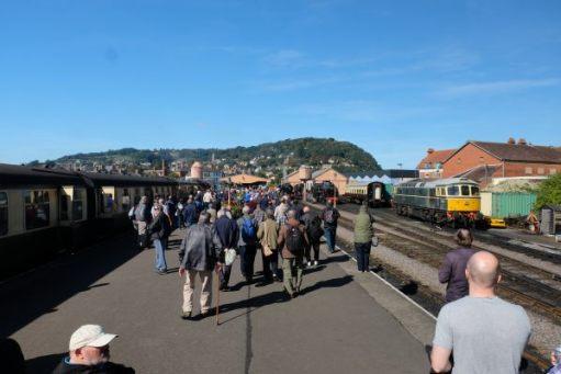 West Somerset Railway - A crowded Minehead Station.