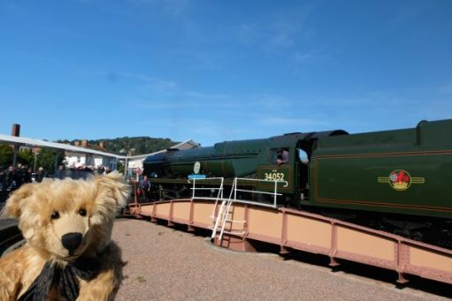 West Somerset Railway - West Country 34052 Lord Dowding on the turntable at Minehead.