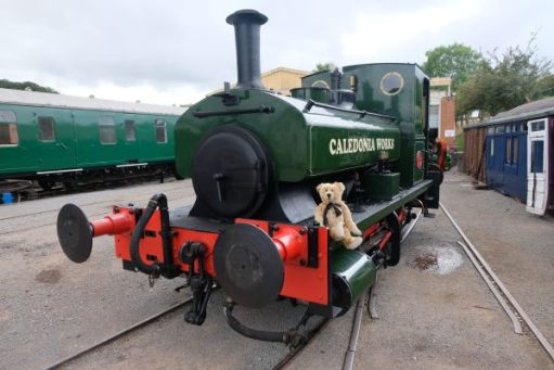 West Somerset Railway - Washford Station Museum, with Bertie sat on the front of a locomotive from Caledonia Works.