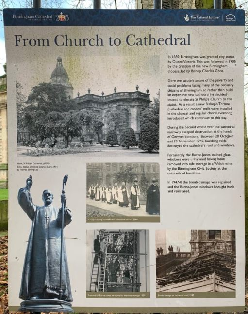 Interpretation board describing how St Philip's, Birmingham, grew from a Parish Church to a Cathedral.