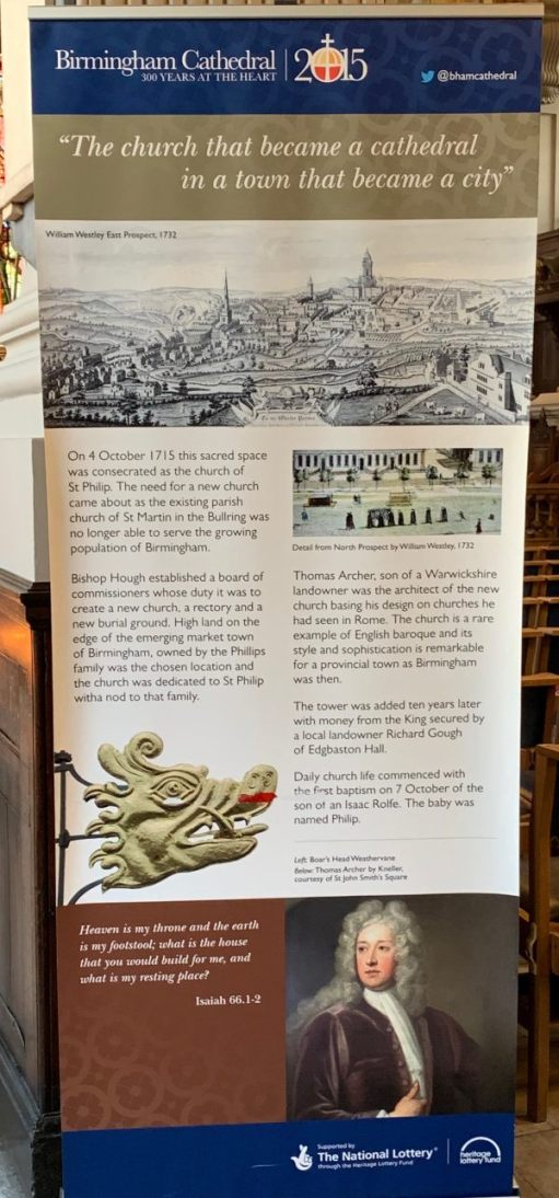 Interpretation Board with a brief history on Birmingham and St Philip's Cathedral.