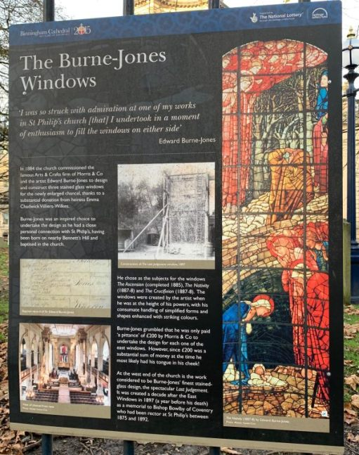 Interpretation Board telling about the Burne-Jones stained glass windows in St Philip's Cathedral, Birmingham.