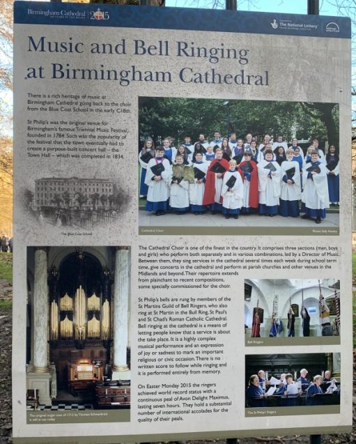 Interpretation Board telling about Music and Bell Ringing at St Philip's Cathedral, Birmingham.