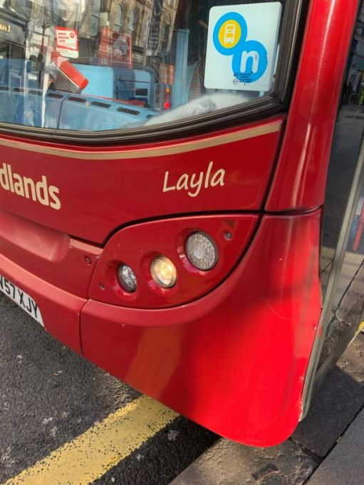 "A bus called ""Layla""."