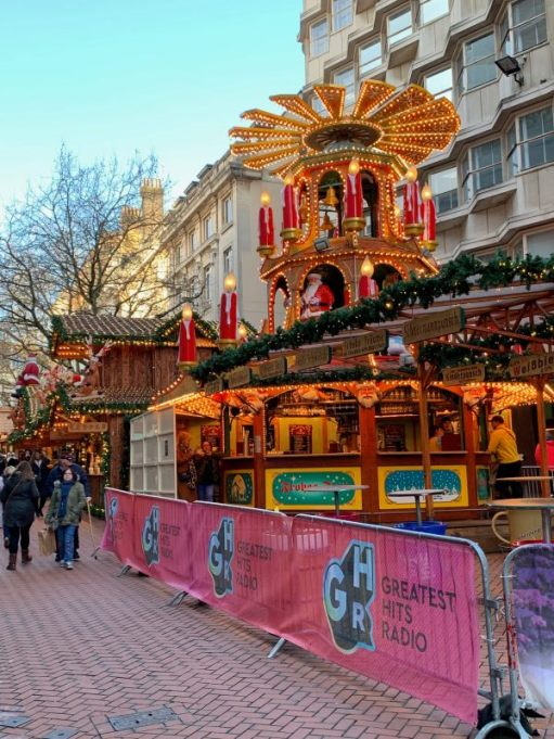 The German Market in New Street, Birmingham.