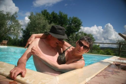 Bobby & Diddley in an outdoors wimming pool.