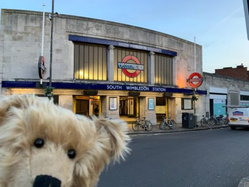 Bertie posing outside South Wimbledon Station.