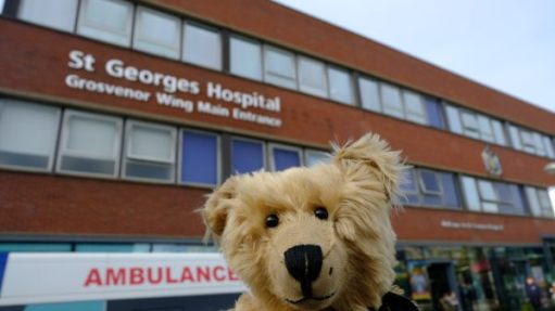Bertie outside the entrance of St George's Hospital.