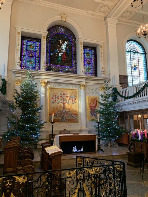 St Botolph without Aldgate at Christmas time.