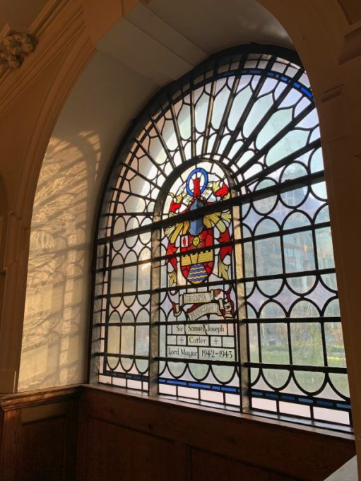 Stained glass window in St Botolphs dedicated to Sir Samuel Joseph, Cutler, Lord Mayor 1942-1943.