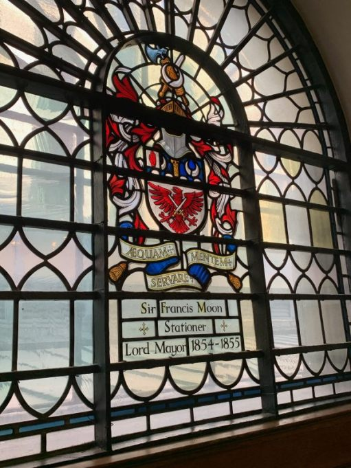 Stained glass window in St Botolphs dedicated to Sir Francis Moon, Stationer, Lord Mayor 1854-1855.