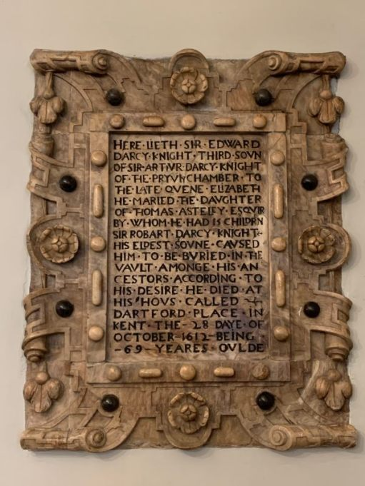 Burial Stone for Sir Edward Darcy Knight.