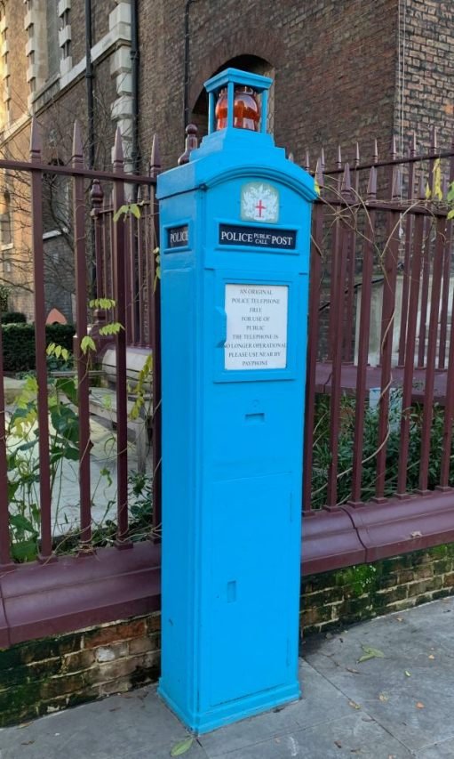 An original Police Telephone post in light blue.