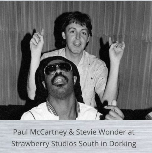 Paul McCartney & Stevie Wonder at the Strawberry Studios South.