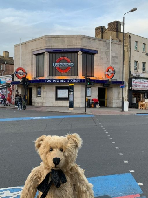 Bertie posing in front of Tooting Bec station.