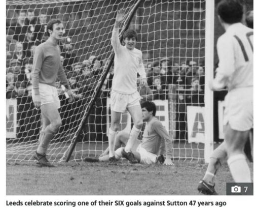 Allan Clarke celebrating scoring one of the six goals against Sutton United.