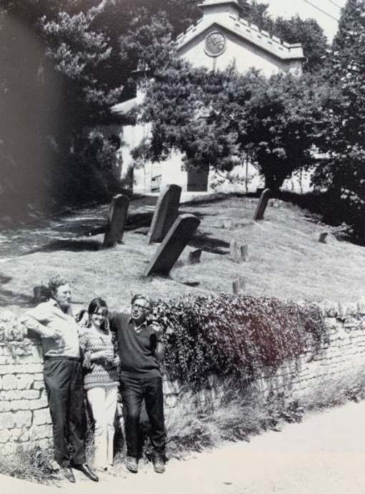 Frank Mansell left. Laurie Lee right. And a friend (not Diddley…) Outside Slad Church.