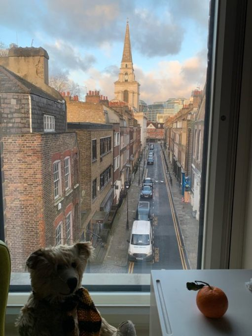 Bertie in the window of room 311, with the view of Fournier Street to Christ Church and Spitalfields at dawn on the Sunday morning.