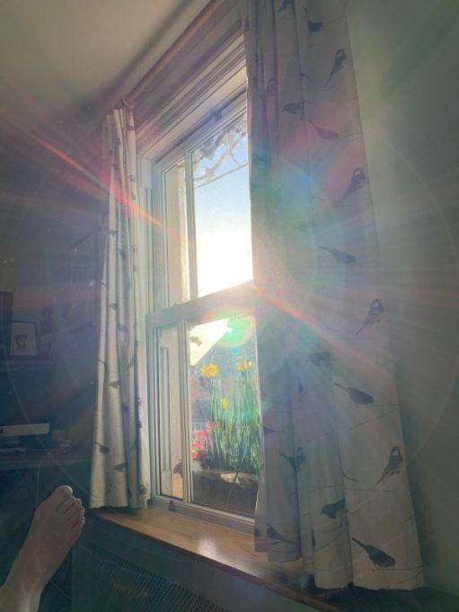 S I D (Self Isolation Day): A bare foot and the sun streaming in through the window.