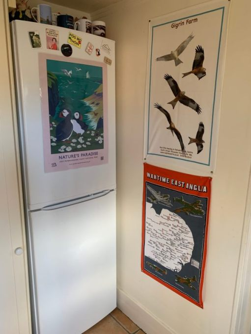 Tea Towels and Posters on the wall and fridge freezer. Some fridge magents above.