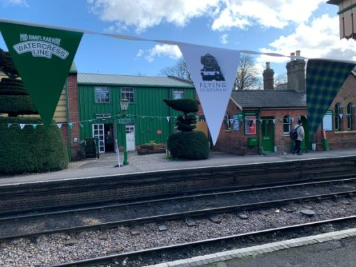 "Ropley with ""Flying Scotsman"" bunting."