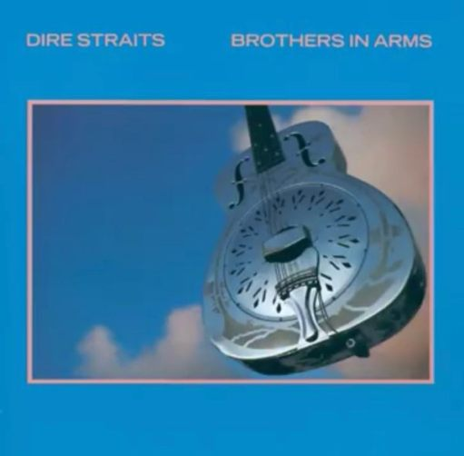 """Album cover - """"Dire Straits, Brothers in Arms"""". A blue background with a photograph of a metal guitar in the clouds."""