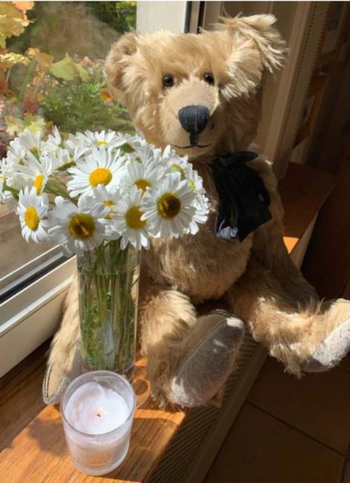 Lighting a Candle for Diddley: Bertie on the window cill with a lit candle in front of a vase of Moon Daisies.