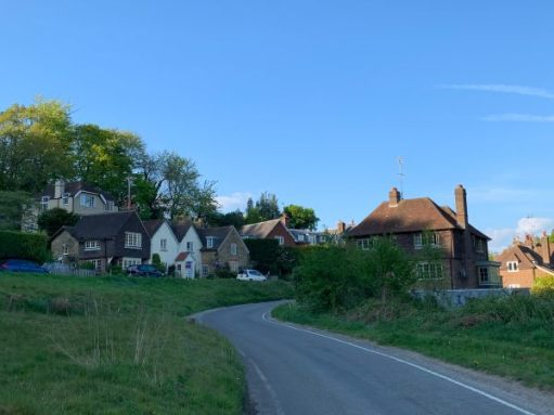 The Chocolate Box approach to Coldharbour on the winding single track road.