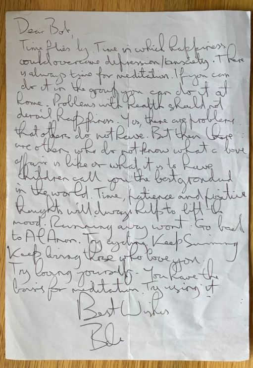 Letter to Myself: Bobby's handwritten letter to himself. See bottom of page for full transcript.