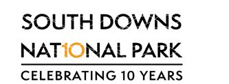 "South Downs National Park - Celebrating 10 Years. (The ""io"" in national have been highlighted in yellow to represent a ""10"")"