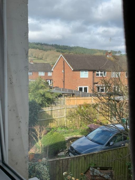 Looking out of the upstairs window in Laurel Cottage towards Redlands Forest.