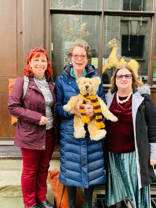 Linda, Amanda (holding Bertie) and Jo outside Town House, Fournier Street, Spitalfields.