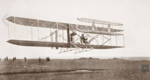 Charles Rolls taking off in the biplane.