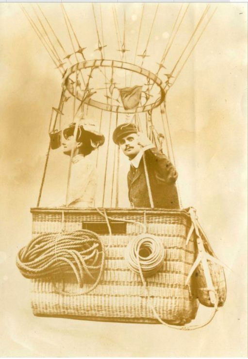 Charles Rolls balloonist - in a balloon with a lady.