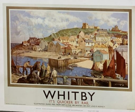 "Old LNER poster: ""Whitby - It's quicker by rail""."