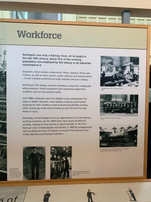 A poster telling of the workers at Darlington Railway Works.