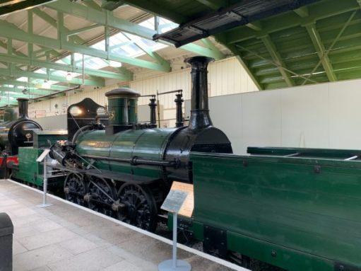"Engine ""Derwent"" in a former platform in Darlington North Road Station."