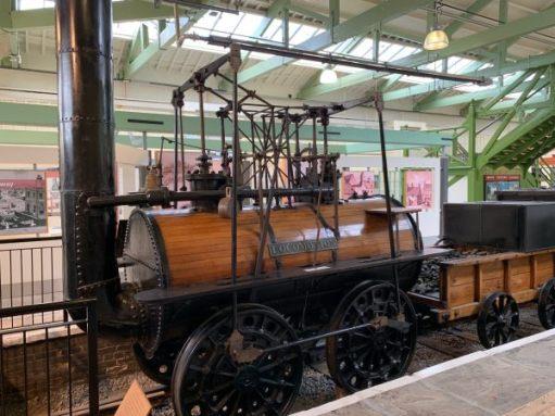 "The oldest engine of all. ""Locomotion"" in a former platform in Darlington North Road Station."