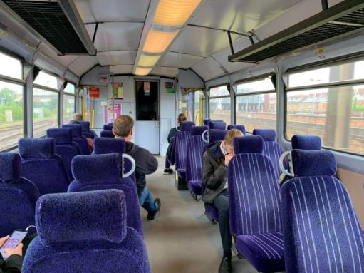 Inside a Pacer. Refurbished with new seats, but still like a bus.