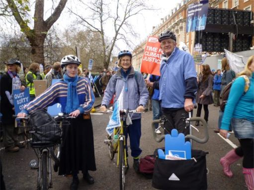 Bobby and the Brompton with other cyclists at a rally in London.