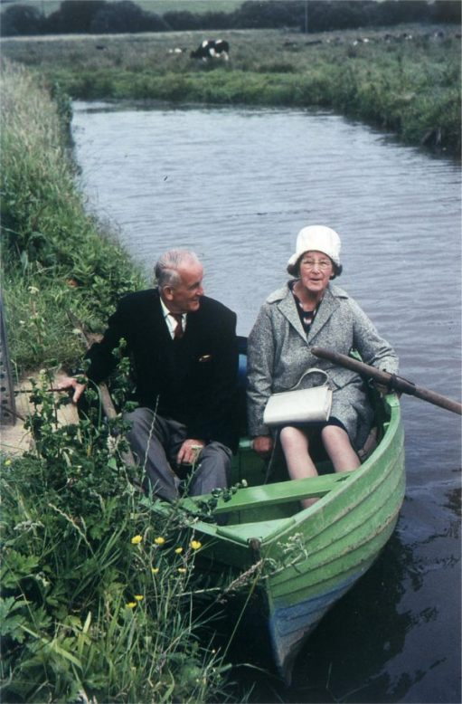 ...a rowing boat on the river at Alverstone. Bobby's mum and dad. Bobby had jumped out to take the picture. Note what the working class wore on holiday in 1964.