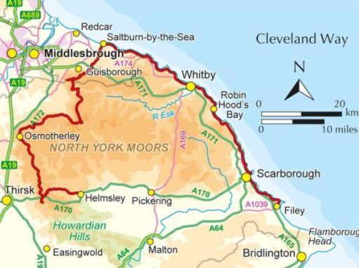 Map of North Yorkshire and The Cleveland Way.