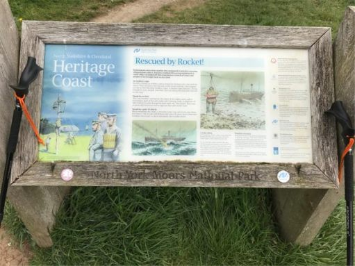 Interpretation Board showing a daring sea rescue.